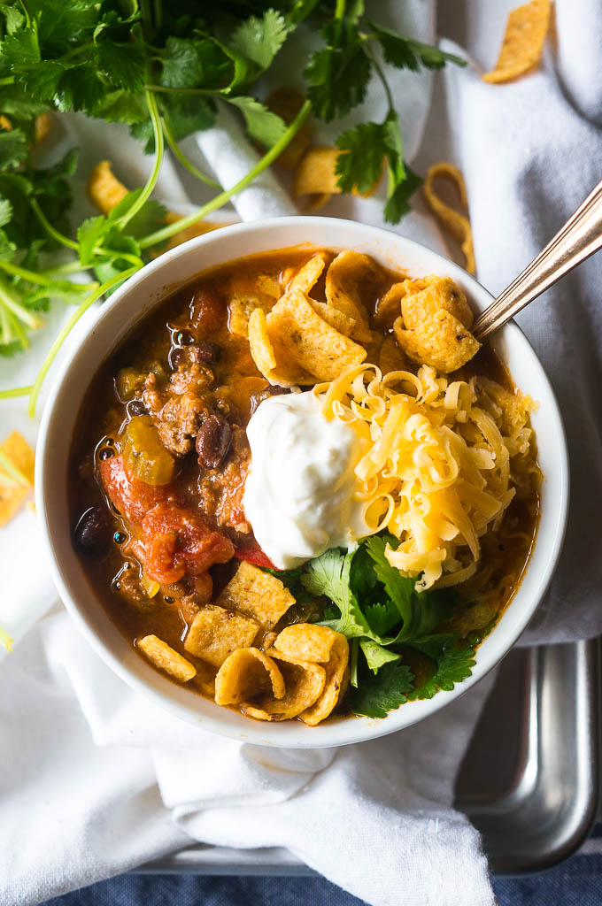Loaded Slow Cooker Chili Kitschen Cat