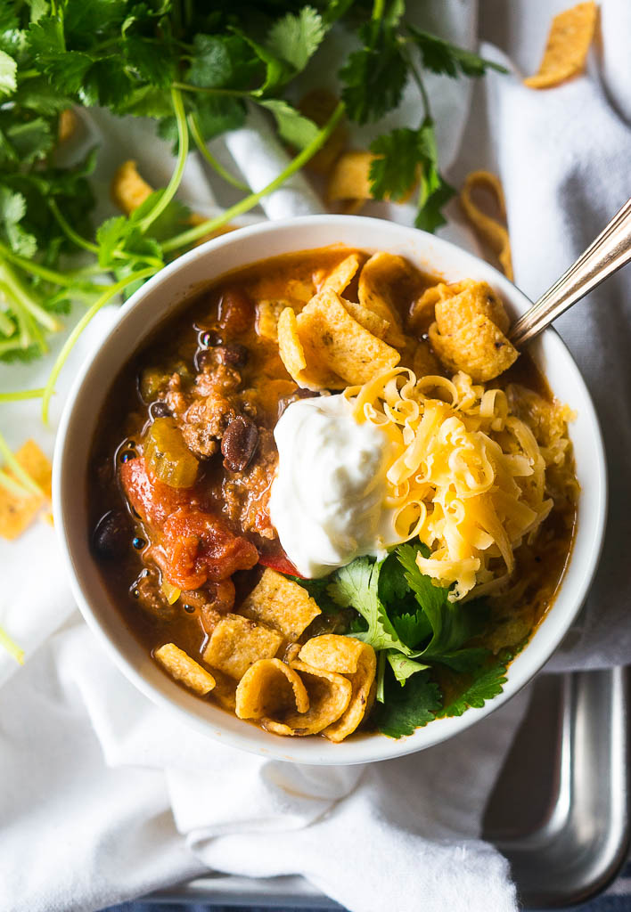 vegetarian chili in a bowl on a white background