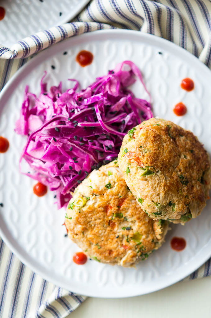 Spicy Loaded Crab Cakes have just the right amount of heat and are sneaky enough to have a serving of vegetables tucked inside too!
