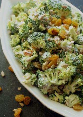 Broccoli Salad with Golden Raisins and Sunflower Seeds