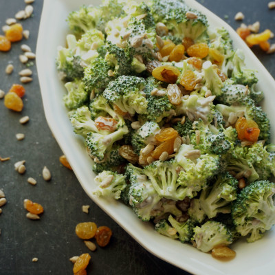 Broccoli Salad with Golden Raisins and Sunflower Seeds