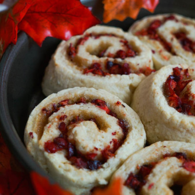 Brown Sugar Biscuits with a Cranberry Orange Swirl