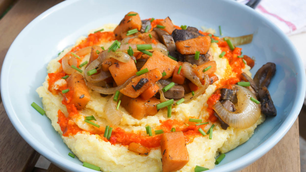 Autumnal Veggies over Creamy Polenta - Kitschen Cat