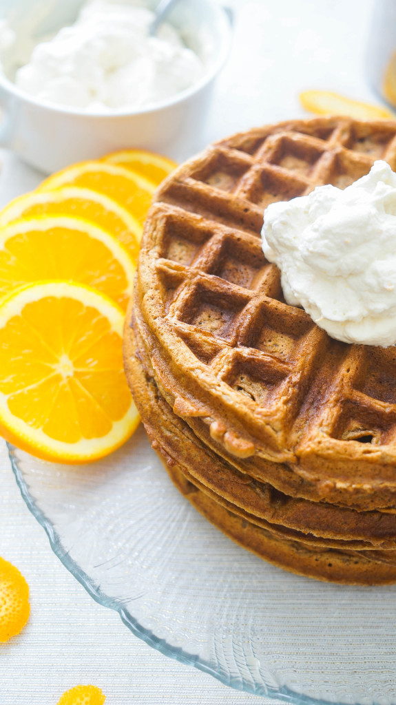 Gingerbread Waffles with Orange Whipped Cream-2