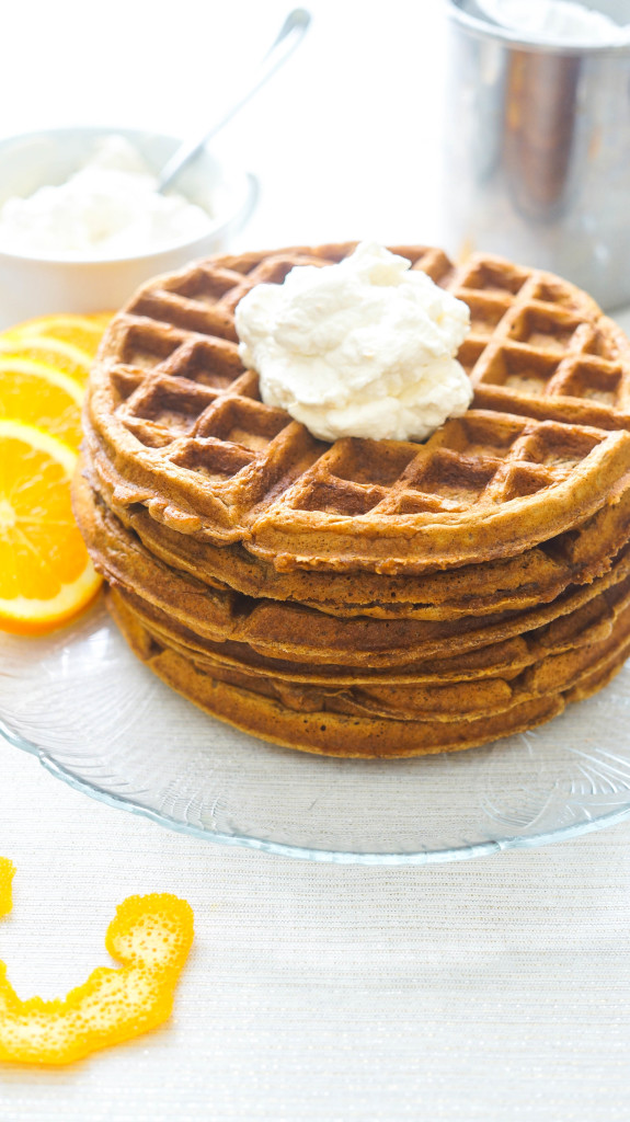 Gingerbread Waffles with Orange Whipped Cream-3