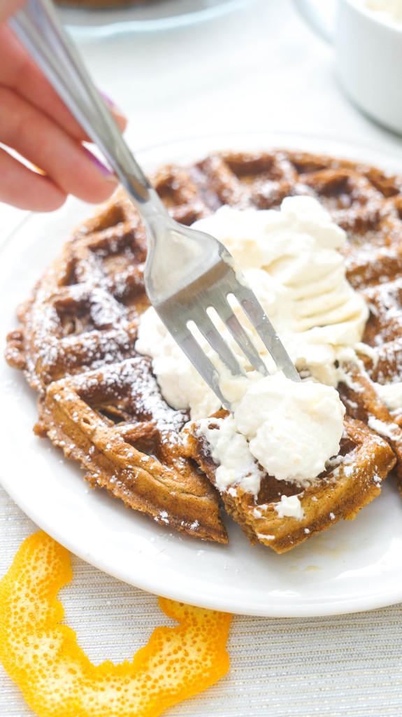 Gingerbread Waffles with Orange Whipped Cream - Kitschen Cat