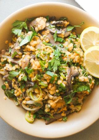 Mushroom, Lentil, and Kale Salad