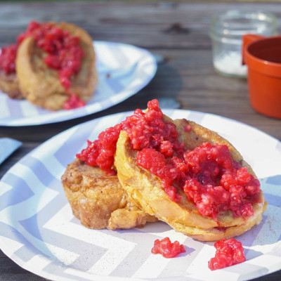Mascarpone French Toast with Smashed Raspberries