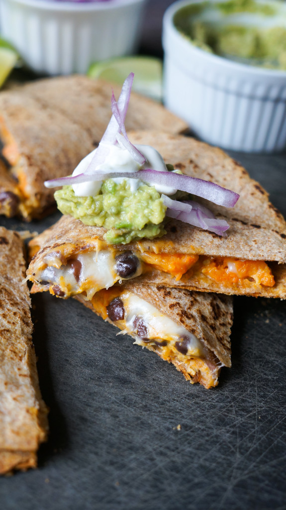 Black Bean and Sweet Potato Quesadillas. Healthy vegetarian quesadillas jam packed with so much flavor!