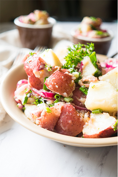 German Potato Salad with Bacon and Red Onion