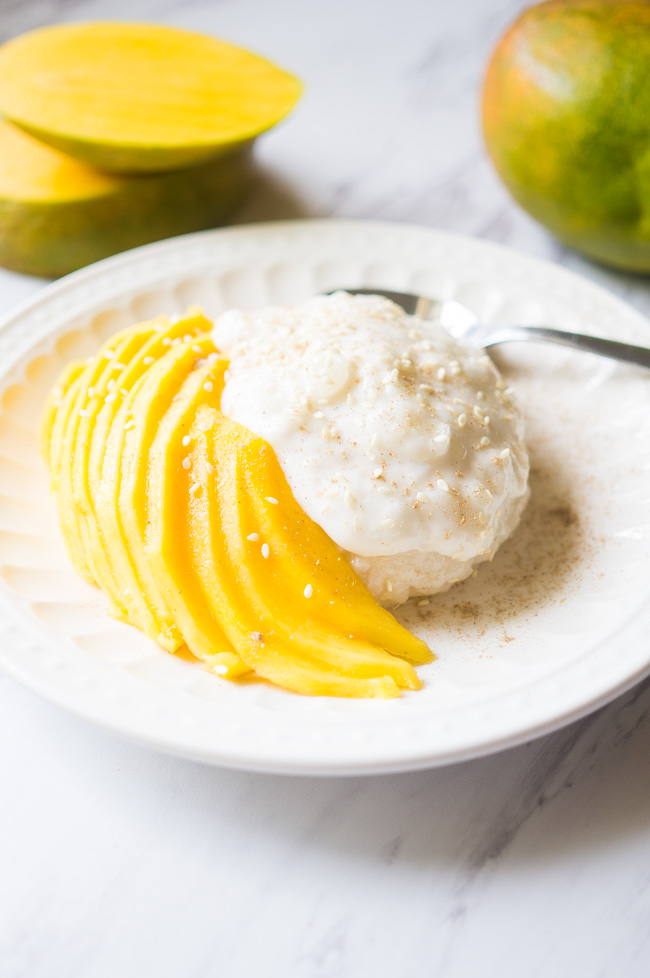 Mango Sticky Rice with Coconut Cream. A classic Thai dessert that is creamy, refreshing, and the perfect end to a spicy meal!
