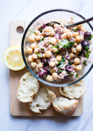 Chickpea Salad with Lemon, Tuna, and Olives