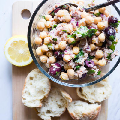 Chickpea Salad with Lemon, Tuna, and Olives
