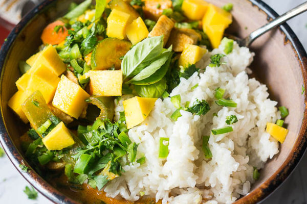 Summertime Mango Chicken Curry with Pressure Cooker Coconut Rice