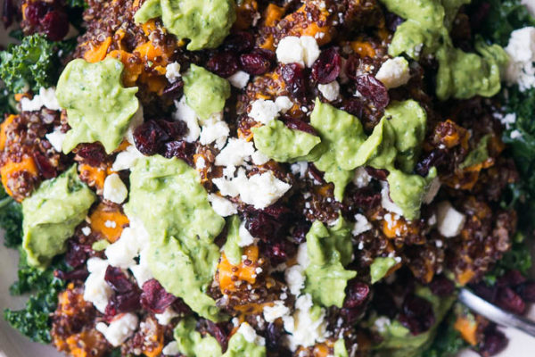 Pressure Cooker Kale & Quinoa Salad with Zingy Avocado Sauce