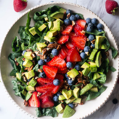 Summer Spinach and Berry Salad with Lemon Chia Vinaigrette