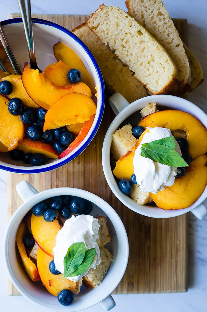 Vanilla Pound Cake with Fresh Peaches & Blueberries. A simple dessert that can be made with pantry staples and highly customizable depending on what fruits are in season!