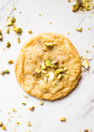 White Chocolate Pistachio Cookies. Chewy in the middle and lightly crispy on the edges, these buttery cookies are delectably delicious!
