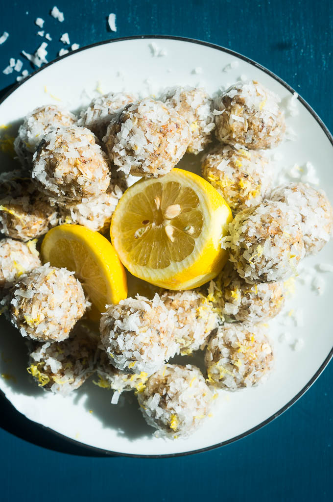 Lemon Coconut Snack Bites. A healthy oatmeal treat rolled in coconut and packed with chia seeds, lemon zest, nuts, and more!