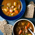 Pressure Cooker Hearty Beef Stew. A rich and hearty stick to your ribs kind of stew with carrots, potatoes, and green peas.