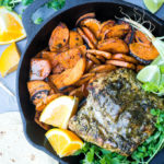 Tender and juicy roasted mojo pork in the pressure cooker alongside some pan seared Caribbean sweet potatoes are where it's at for a quick, nutrient packed dinner!