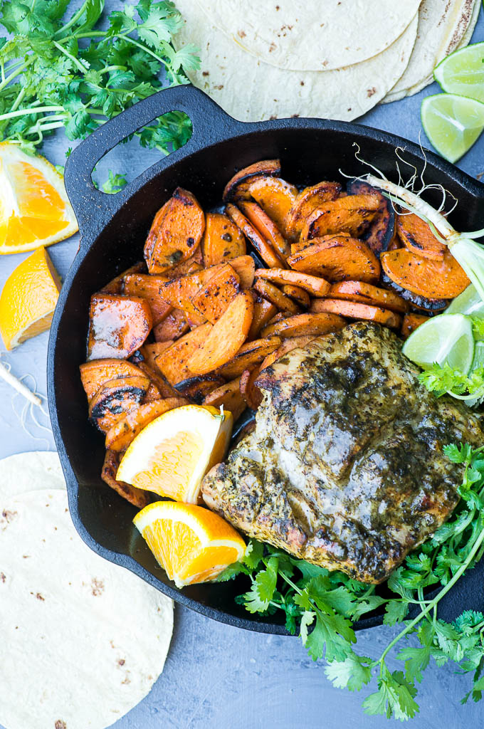 Pressure Cooker Roasted Mojo Pork with Caribbean Sweet Potatoes