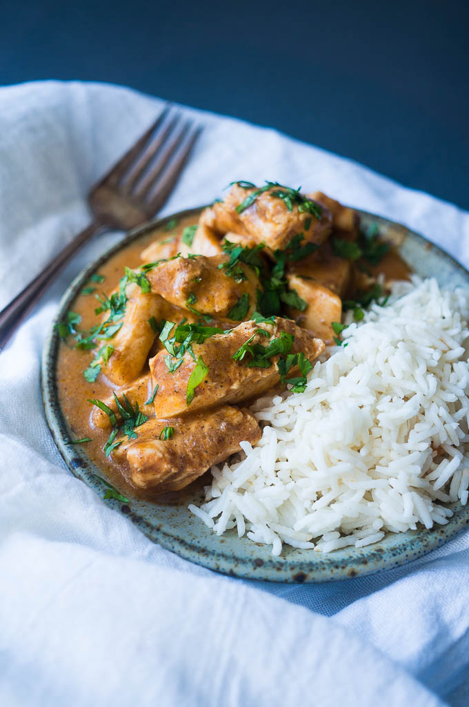 Pressure Cooker Butter Chicken. A rich and creamy indian curry made in less than 15 minutes in the pressure cooker. Sprinkle with chopped cilantro and serve on top of basmati rice for a night of make at home take-out!