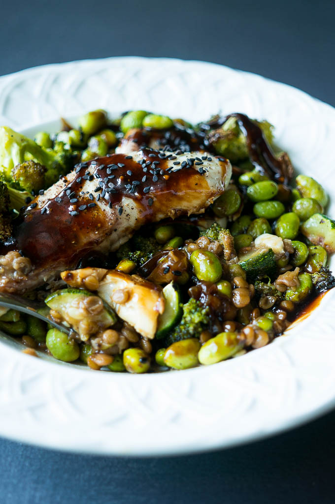 Teriyaki Tilapia Bowls With Brown Lentils Oven Roasted Green Veggies And Teriyaki Sauce Are