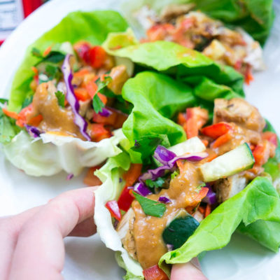 Asian Grilled Chicken Lettuce Wraps with Dorot