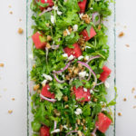 Watermelon Arugula Salad - an explosion of sweet, salty, nutty, and peppery flavor in every bite!