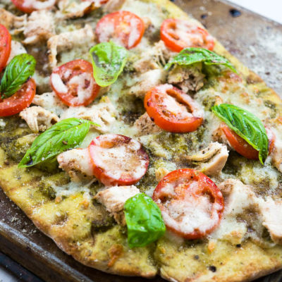 Caprese and Pesto Grilled Chicken Pizza