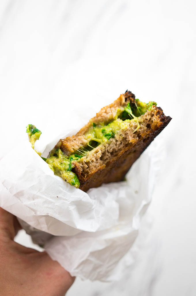 Mean Green Grilled Cheese sandwiches have mashed avocado, basil, two cheeses, and spinach - what more could you need?