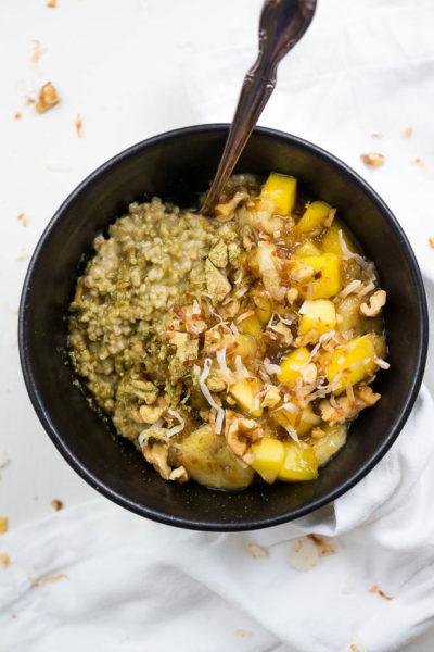 Pressure Cooker Mango Matcha Oats