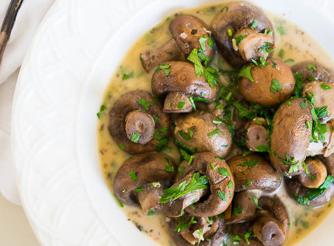 Pressure Cooker Garlic Herb Mushrooms