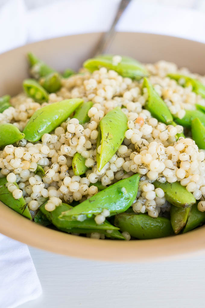 Pressure Cooker Snap Pea Israeli Couscous is a fresh summer side dish with only a few ingredients - perfect for lunchtime!