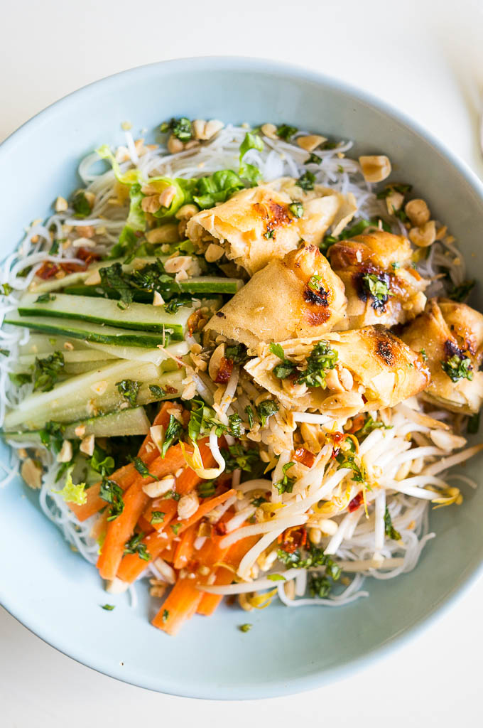 Modeled after a Vietnamese Egg Roll Noodle Saladsalad from my favorite little restaurant in Minneapolis, this is the ultimate make-in, take-out dish!