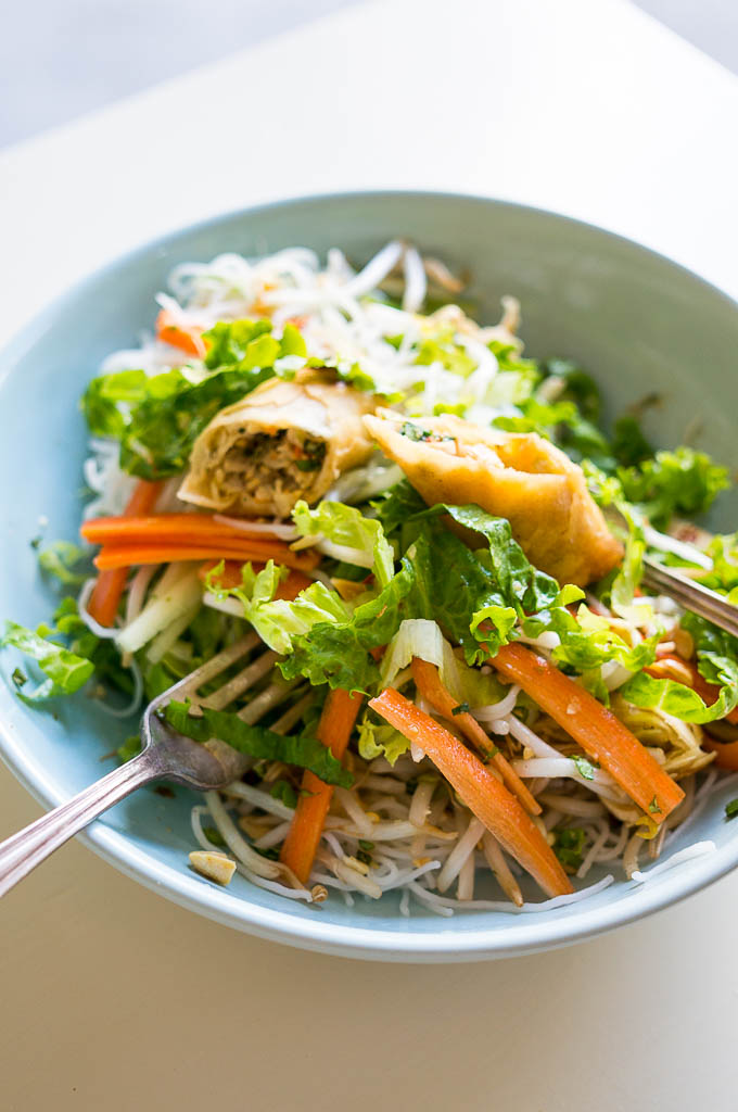 Modeled after a Vietnamese Egg Roll Noodle Salad salad from my favorite little restaurant in Minneapolis, this is the ultimate make-in, take-out dish!