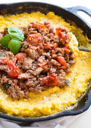 Savory Breakfast Polenta with Italian Sausage