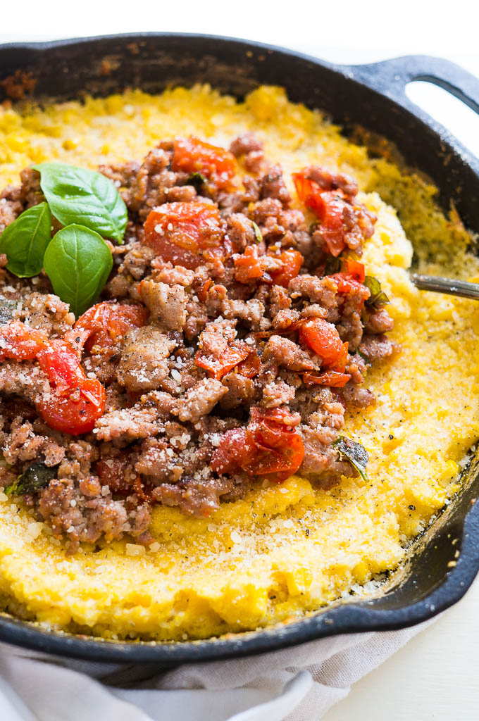 Savory Breakfast Polenta with Italian Sausage - Kitschen Cat