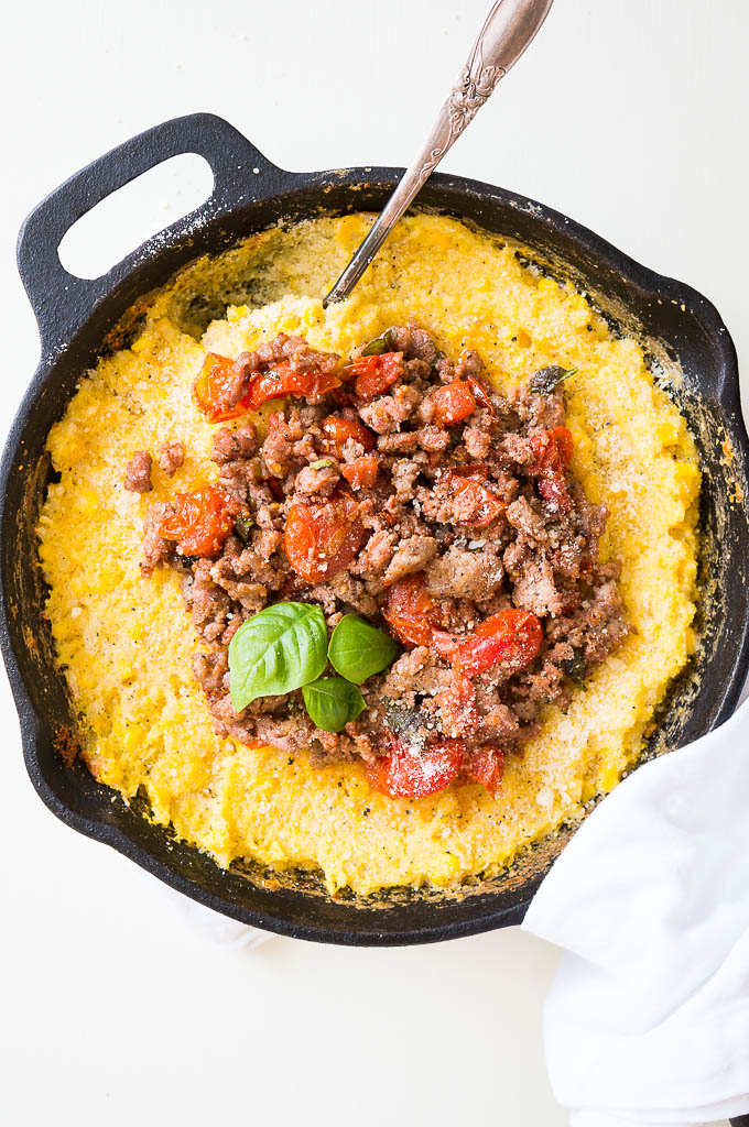 Savory Breakfast Polenta with Italian Sausage - a savory dish with just a few ingredients. Great for breakfast, lunch, or dinner!