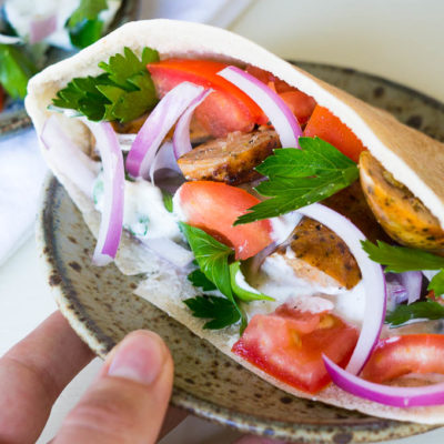 Chicken Sausage Stuffed Pitas