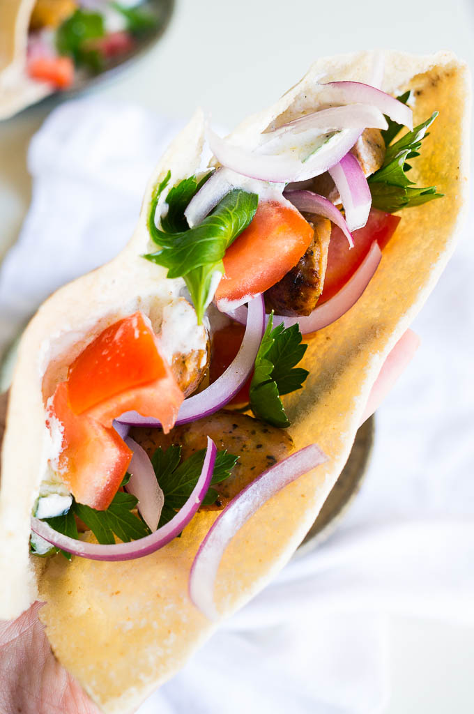 Chicken Sausage Stuffed Pitas. Dinnertime doesn't always have to be elaborate - sometimes it just takes 6 ingredients and a couple of minutes!