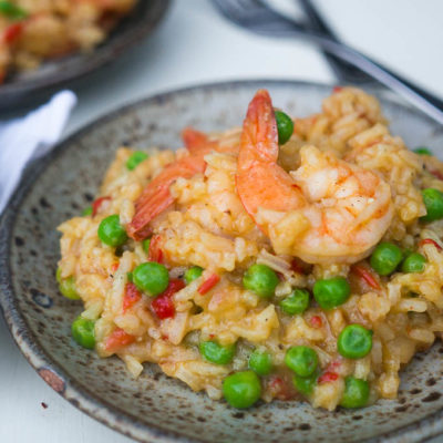 Pressure Cooker Curried Shrimp Paella