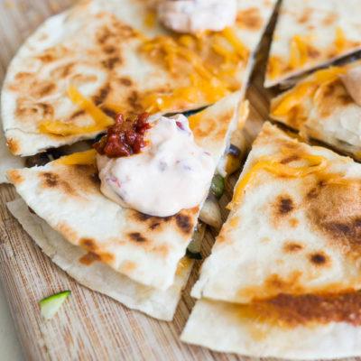 Mushroom and Zucchini Quesadillas with Chipotle Cream