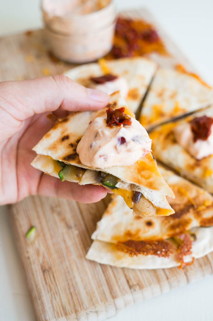 Mushroom and Zucchini Quesadillas with Chipotle Cream - 3 summer veggies topped with cheddar cheese and a two ingredient chipotle cream. Yum!