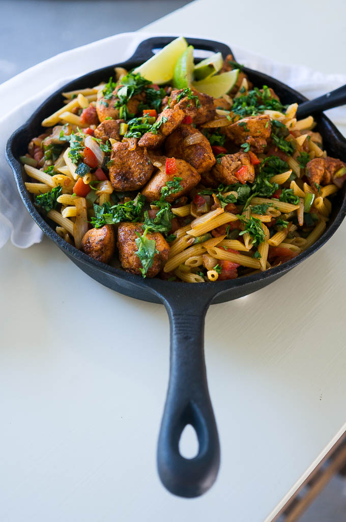 From The New Camp Cookbook, this One-Pan Chicken Fajita Pasta is a crowd pleaser that keeps dishes to a minimum!