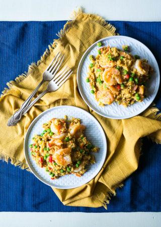 Pressure Cooker Curried Shrimp Paella