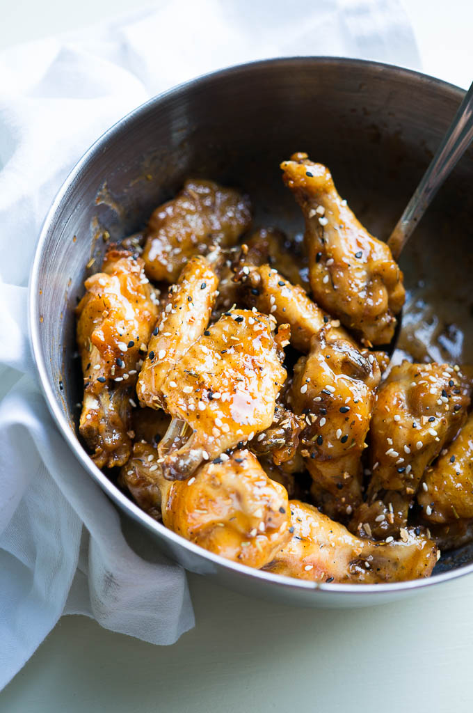 Pressure Cooker Grilled Honey Sriracha Chicken Wings are sweet, spicy, and finger licking good!
