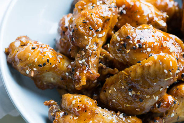 Pressure Cooker Grilled Honey Sriracha Chicken Wings