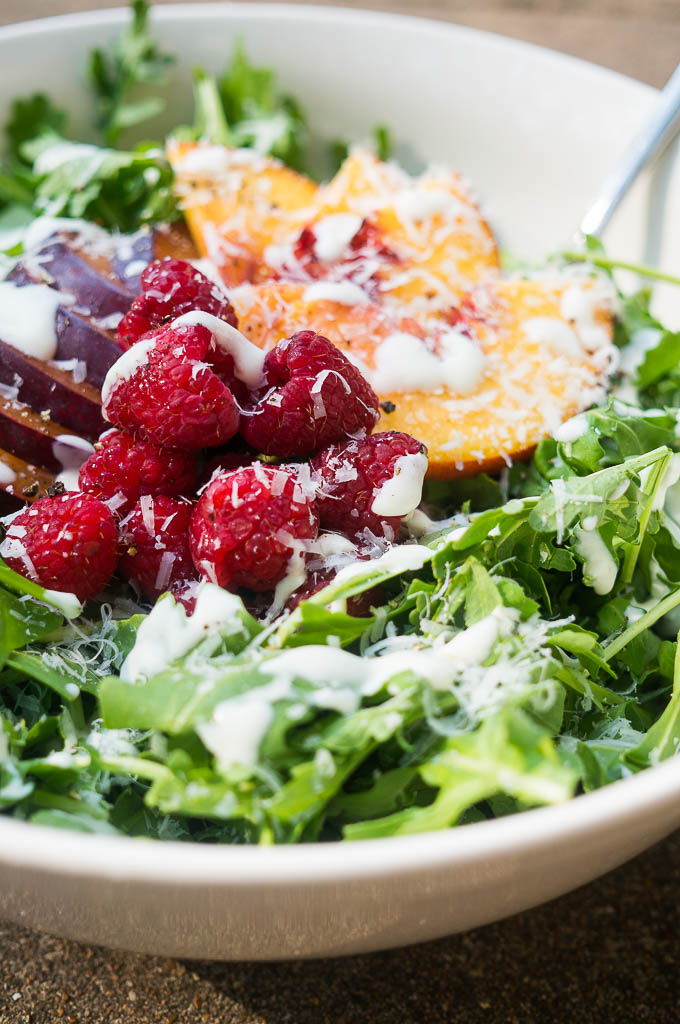 Arugula Salad with Stone Fruit is peppery, sweet, fruity, and acidic - it's a party in your mouth!